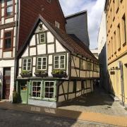 Schwerin, eines der ältesten Häuser von 1698 in der Schweriner Altstadt.