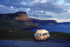 Der T3 Joker mit festem Hochdach. Er hat uns jahrelang durch viele Länder begleitet. Hier in Schottland.