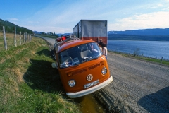 Ohne Fahrerfahrung gleich auf große Tour. Das ging schief und ich steuerte unseren T2 in Norwegen in den Graben. Zum Glück passierte nichts Schlimmes.